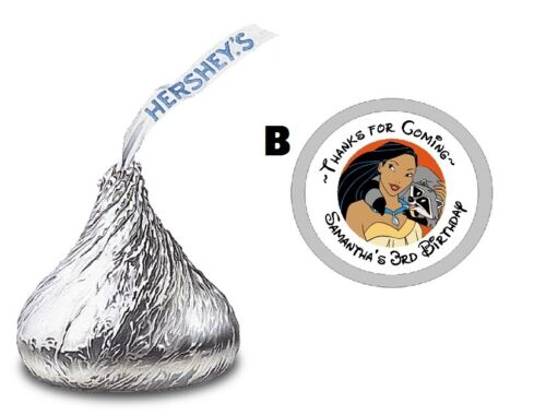 108 POCAHONTAS CUSTOM HERSHEY KISS KISSES LABELS STICKERS BIRTHDAY PARTY FAVORS