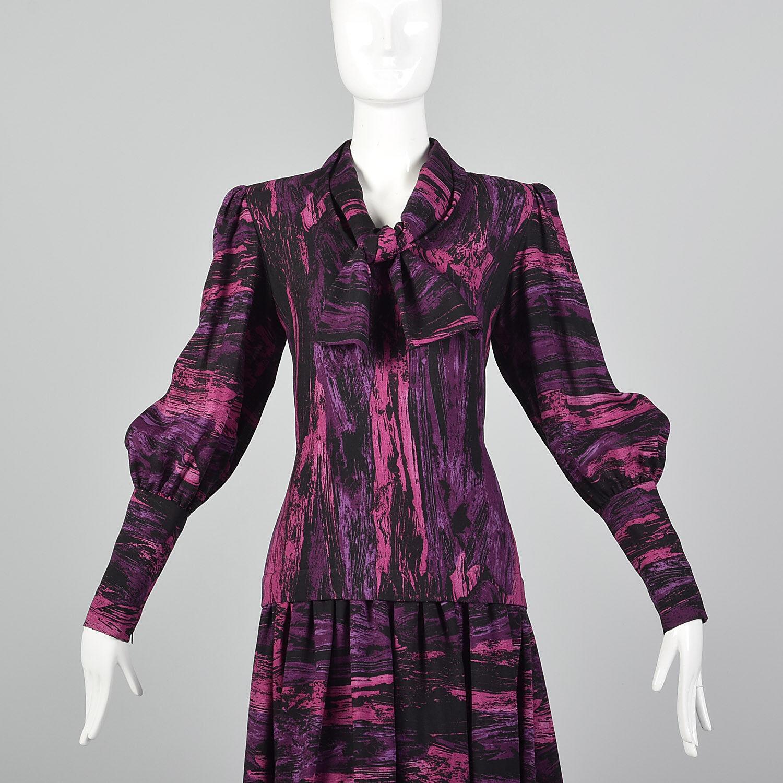 Medium Pauline Trigere 1980s Drop Waist Dress Vin… - image 6