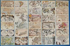 Collection-of-30-Vintage-Antique-Reproduction-Map-Postcards-Made-in-the-UK