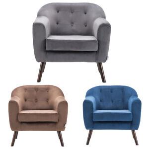 Plush Velvet Armchair Easy Accent Back Retro Tub Chair