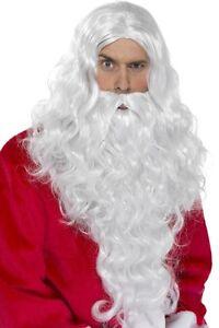 Mens Long Santa Wig & Beard Xmas Father Christmas Fancy Dress Costume Outfit