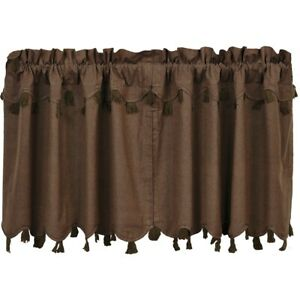 vhc rustic tier pair carrington kitchen curtains rod pocket brown chambray | ebay