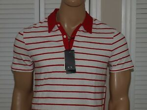 Armani-Exchange-Authentic-Striped-Polo-Red-NWT