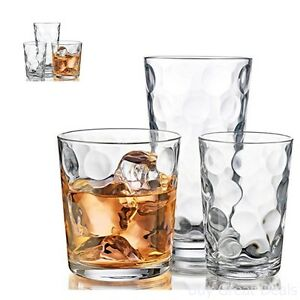 Details about Drinking Glasses Kitchen Glassware Mix Set Of 12 Clear Glass  Water Juice Cups