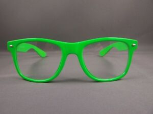 b654b957988 Green frame Clear lens risky business retro 80s style sunglasses ...