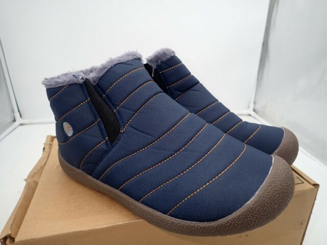 EXEBLUE Men Winter Snow Boots Lace Up Water Resistant Booties Anti-Slip Lightweight Ankle Boots with Full Fur