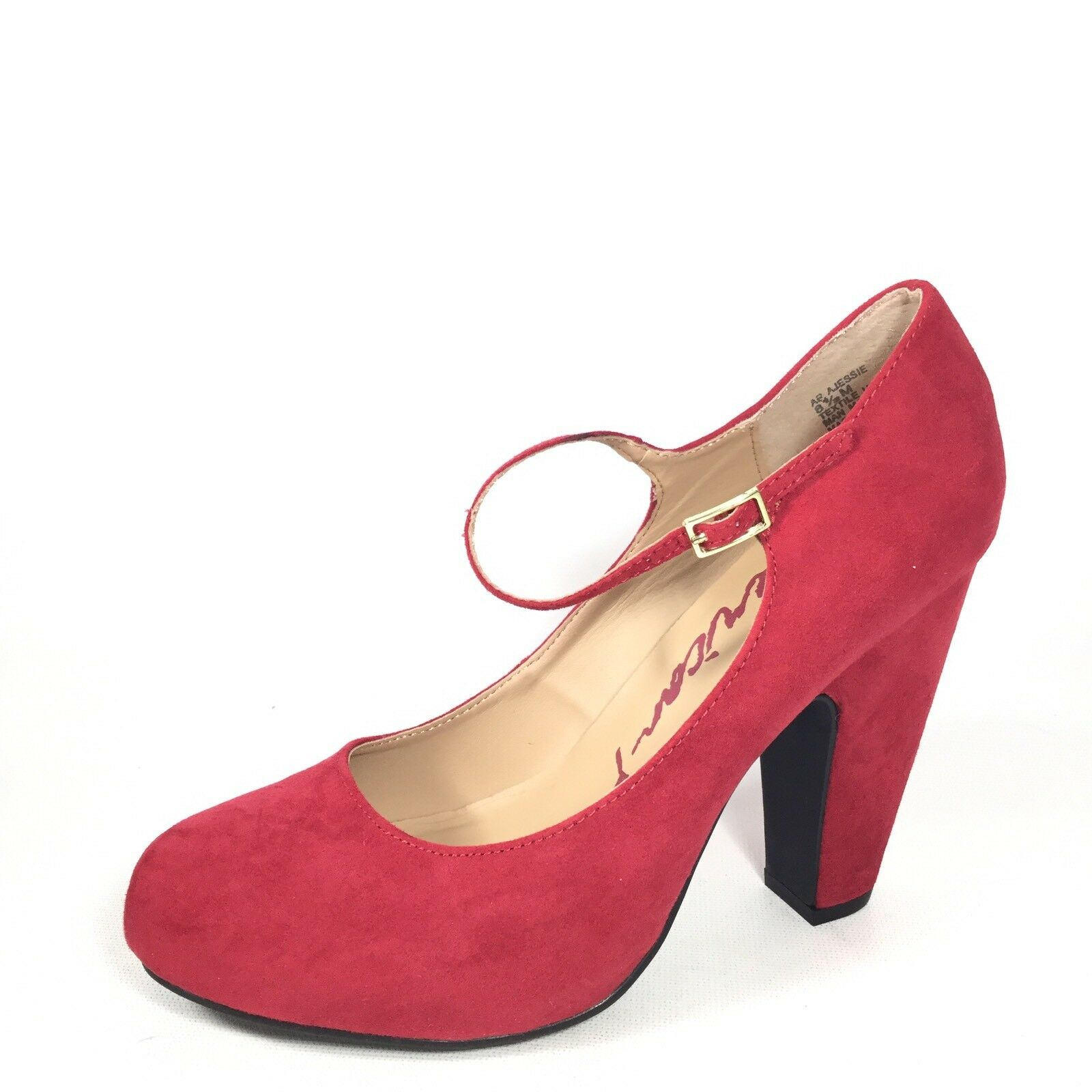 American Rag Jessie Womens Size 8.5 M Red Ankle Strap Mary Jane Heel shoes