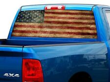 P471 Distressed American Rear Window Tint Graphic Decal Wrap Back Truck Tailgate