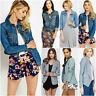 Womens Casual Denim Jacket Blue Button Open Pocket Cropped Linen Blazer S M L XL
