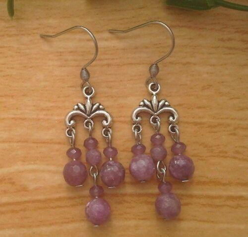 Lilas lépidolithe Gemstone Petit Lustre Dangle Boucles d/'oreilles en acier inoxydable Crochets
