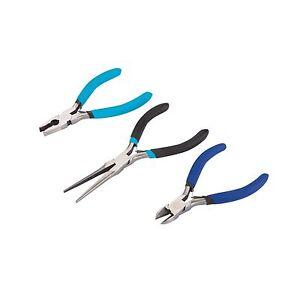 Draper 3Pc Soft Grip Combination Pliers Set Long Nose Cutters Nippers 45864