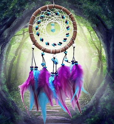 Blue Dream Catcher Net Web Feather Hanging Craft Gift Her Car Decoration Decor