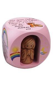 Gebetswürfel rosa lackiert m. Keramikengel u.verschiedene Kindergebete 49x49 mm