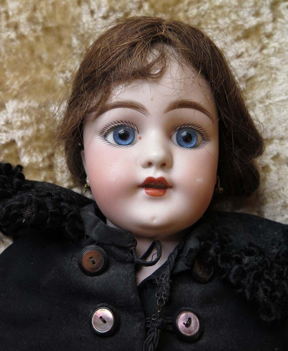 Rare  Antique c1890 SIMON HALgree Bisque bambola 23  Pierced ears open mouth  elementi di novità
