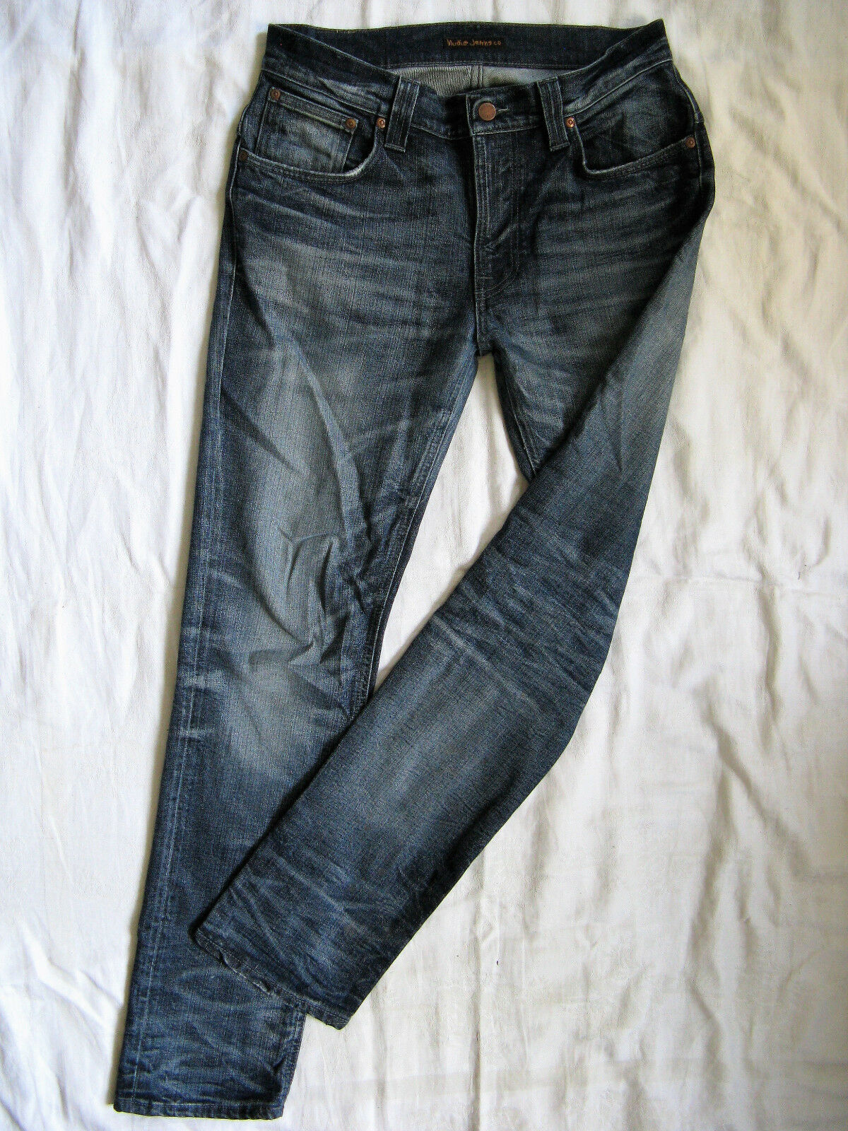 NUDIE Thin Finn Blau Jeans Stretch W32 L32 medium waist slim fit pipe organic