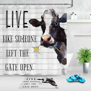 "Milk Cow Farm Animals Rustic Wood Plank Waterproof Fabric Shower Curtain Set 72/"""