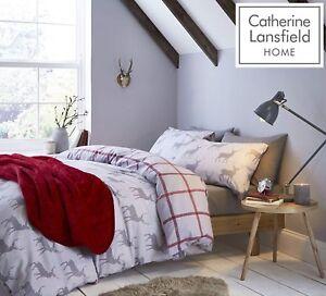 Catherine-Lansfield-cepillado-Stag-flanelita-Funda-De-Edredon-Juego-De-Cama-Gris