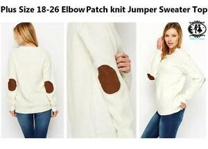 f34a1bbf37f74d LADIES CURVE PLUS SIZE18-26 ELBOW PATCH CHUNKY KNITTED JUMPER DRESS ...