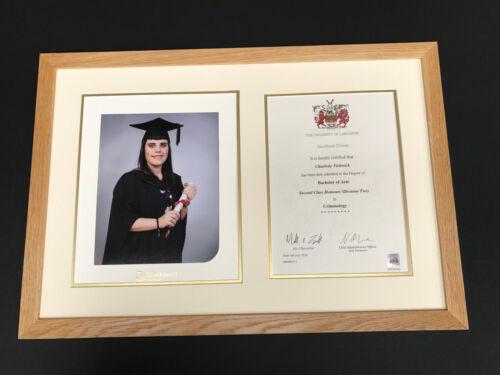 27 mm en chêne massif Graduation photo et certificat cadres avec simple ou double MT