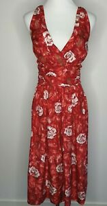 Melaleuca-Silk-Rockabilly-Red-Floral-Fit-amp-Flare-Midi-Dress-Size-14