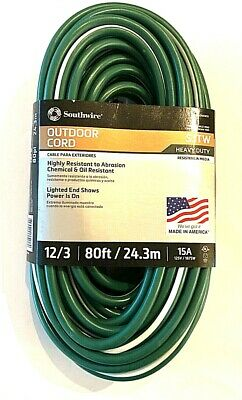 Southwire 80 Ft 12 3 Outdoor Heavy Duty Extension Cord W Power Light Plug Sjtw Ebay