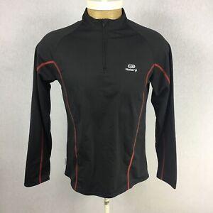 Kalenji Mens Black Solid Long Sleeve Quarter Zip Pullover T Shirt Size Medium z5