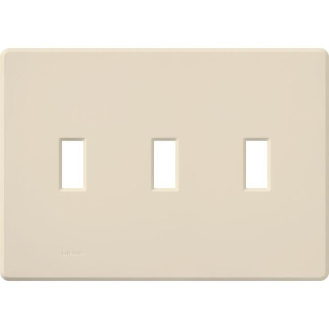 Lutron Fada 3 Gang Toggle Oversized Snap On Light Almond Wall Plate Fg