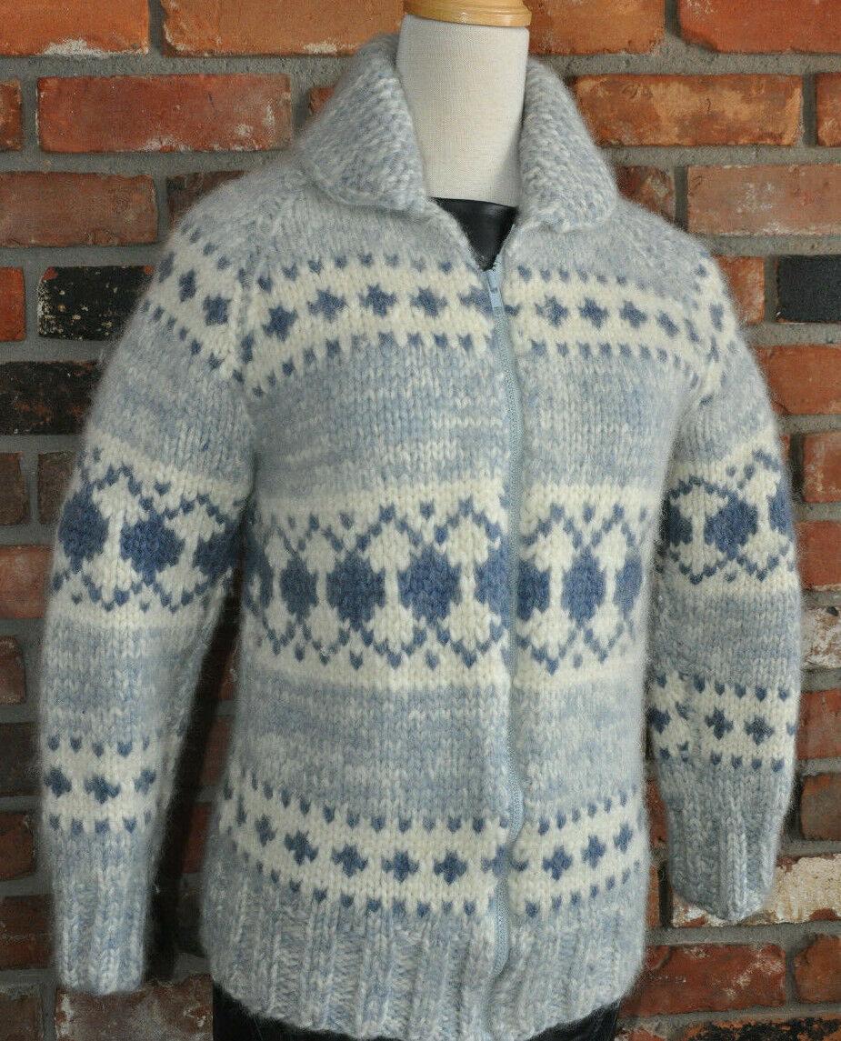 SOFT COWICHAN HAND KNIT WOOL Zip-up WINTER LIGHT blueE Sweater COAT XS