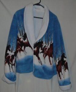 0de8ee4e98a7 Horse Lover Gift Print Fleece Jacket cover up size med !!!!i think ...