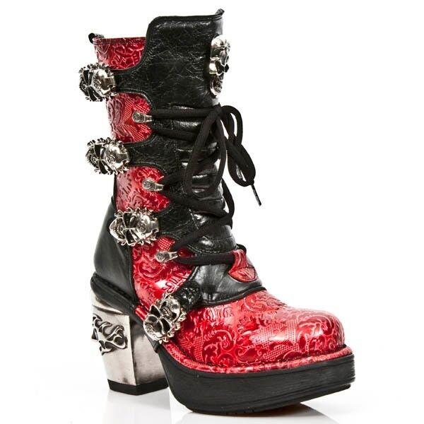 New Rock M.8366-S4 Damen- Stiefel Absatz Stiefel Schuhe Gothic Vintage Flower Rot