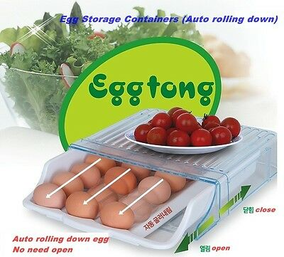 Egg Storage Containers (Auto rolling down) Refrigerator Saving Space Korea