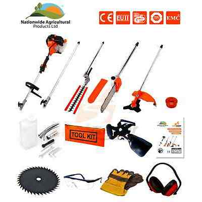 52cc 5 in 1 Hedge Trimmer, Chainsaw, Strimmer, Brush Cutter & Extension Pole