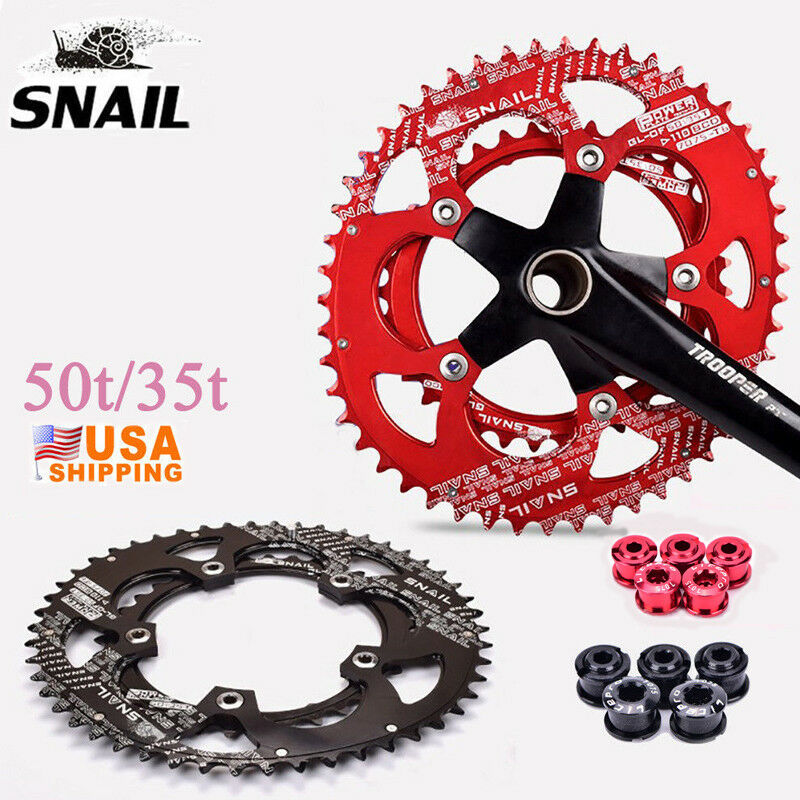SNAIL Double Chainring 110BCD 50T 35T Oval Cycling Road Bike Chainwheel Disc
