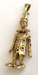 Large heavy 9ct gold articulated clown pendant with genuine ruby and image is loading large heavy 9ct gold articulated clown pendant with aloadofball Gallery