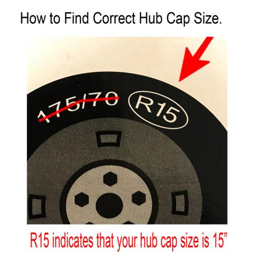 "997 Universal 4 Pcs Ice Black 14/"" Hub Caps Wheel Cover Set  ABS Wheel Skins"