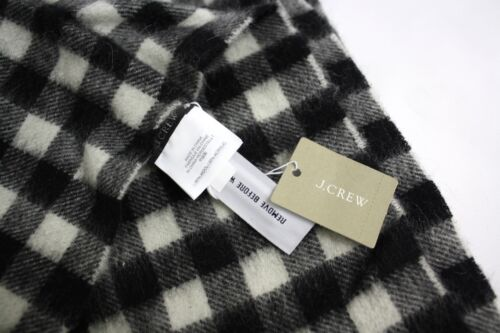 J Crew Checkered Cape Scarf Shrug Wrap Black Ivory Wool Acrylic Blend RET 75