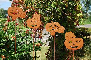 K rbis halloween gartenstecker rost edelrost metall herbstdeko gartendeko herbst ebay - Herbstdeko kurbis ...