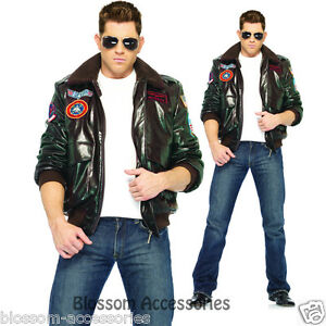 C331 Licensed Top Gun Mens Bomber Jacket Flight Pilot Deluxe Fancy ...