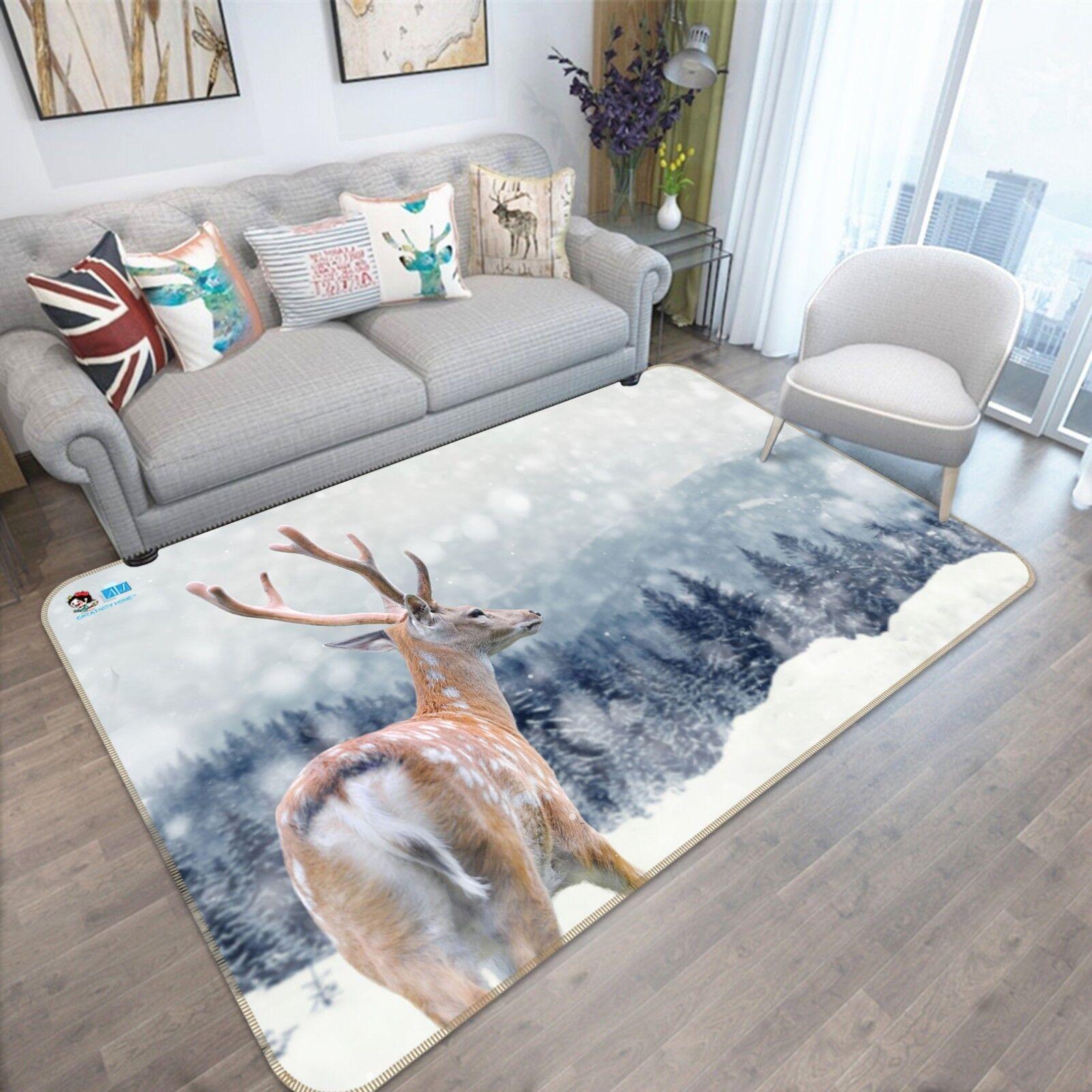 3D Snow Forest Deer 76 Tapis de sol Tapis de sol antidérapants Qualité Tapis Photo élégant Royaume-Uni