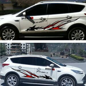 190cm-Black-Red-FLAME-DRAGON-STRIPES-GRAPHICS-CAR-VINYL-STICKER-DECAL-BODY-SIDE