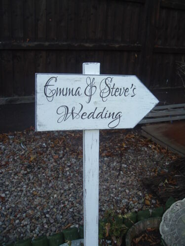 Rustic Wedding This Way Sign Directional Personalised Shabby /& Chic Wooden