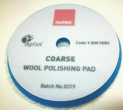 Rupes Bigfoot 180mm Coarse Blue Wool Polishing Pad 9.BW180H Hook /& Loop
