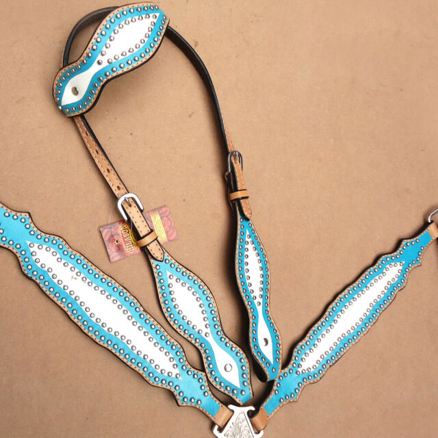 Western Horse One Ear Headstall Breast Collar Set Tack American Leather U--SET