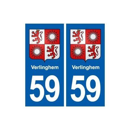 59 Verlinghem blason autocollant plaque stickers ville -  Angles : droits