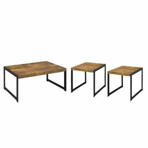 Details About 3 Piece Rustic Coffee Table Set With And End In Antique Nu