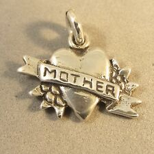 .925 Sterling Silver HEART With MOTHER BANNER CHARM Word Mom Love NEW 925 WR13
