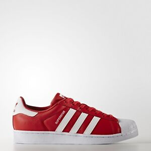 5989ae506f4 NEW  MEN S ADIDAS SUPERSTAR FOUNDATION SHOES RED WHITE RED SHELL TOE ...
