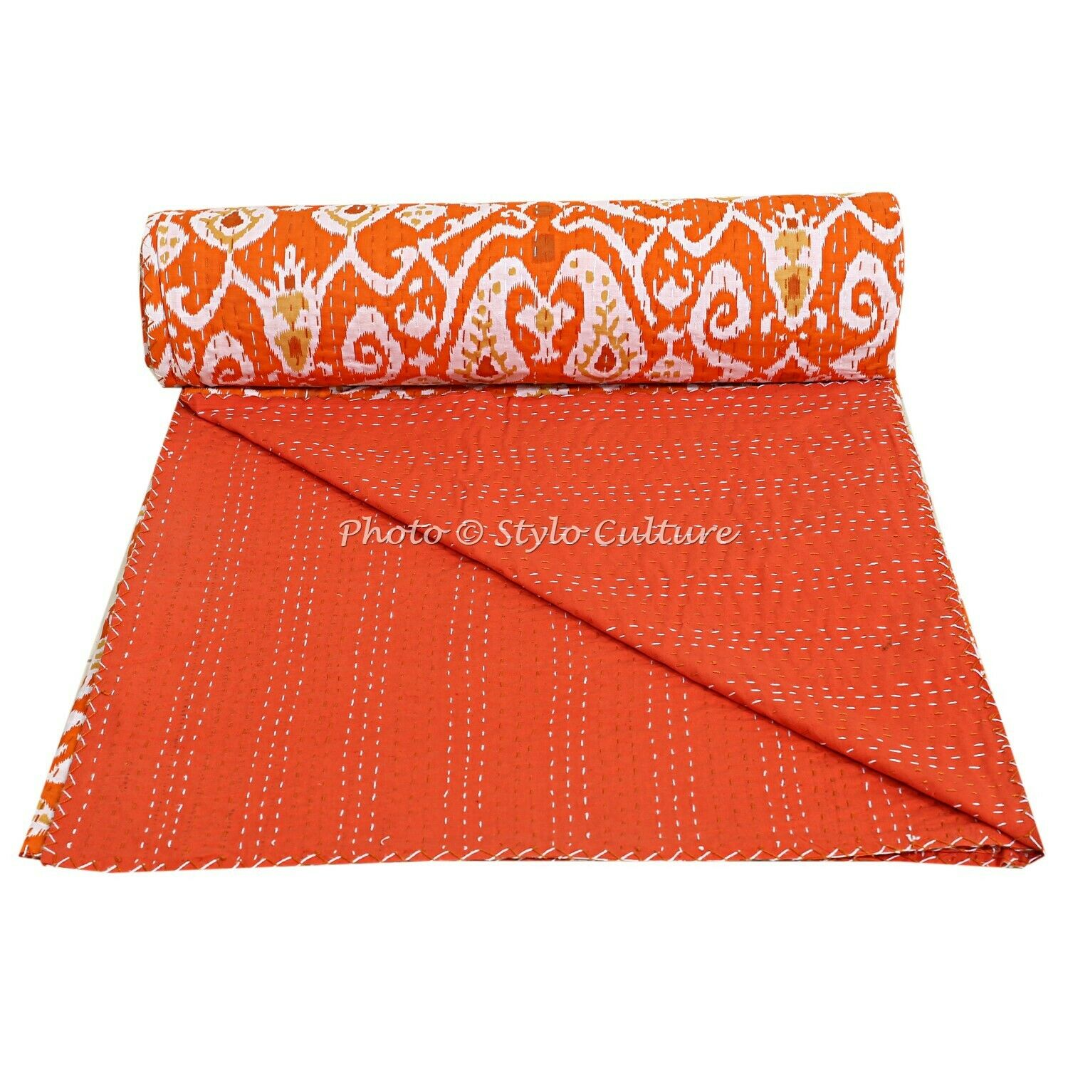Indian Quilt Coverlet Queen Cotton Printed Bedspread Ikat Kantha Quilts