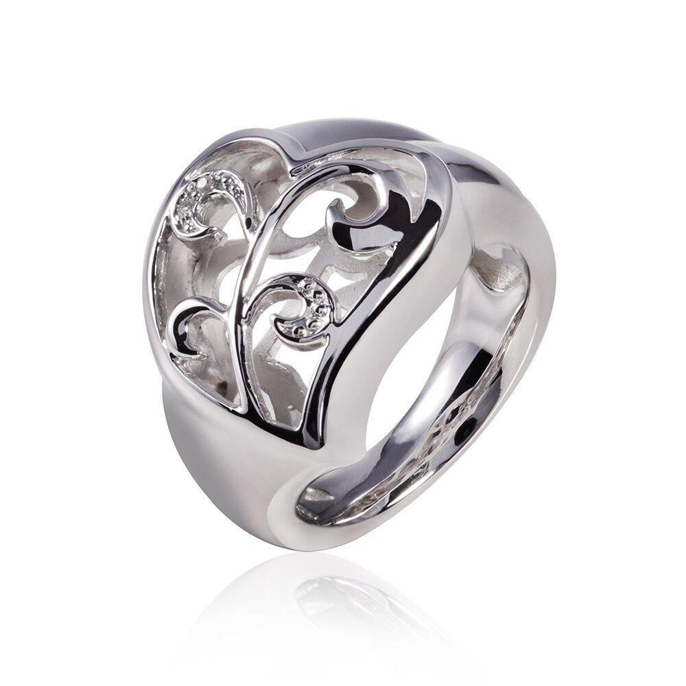 MATERIA 925 silver Ring Herz mit Ranken - Zirkonia Ring groß rhodiniert massiv
