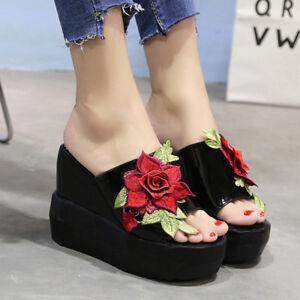 Details about Korean Women Embroidery Floral Platform Slipper High Wedge Heel Sandals Shoes